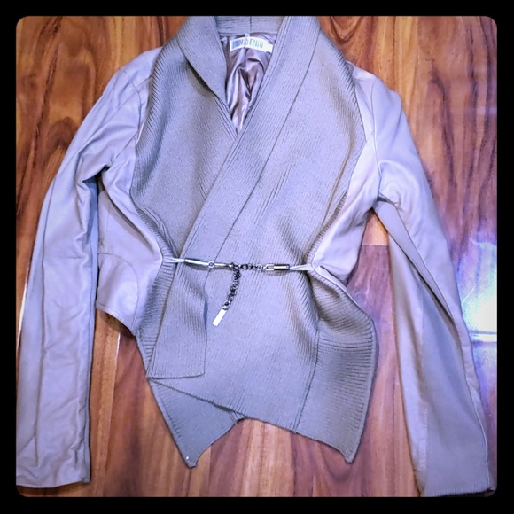 Monoreno Jackets & Blazers - Monoreno leather faux with sweater trim